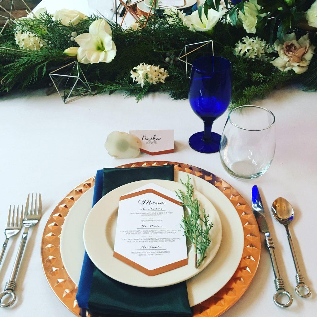 Wedding Design By Anika Copper Christmas Wedding Reception Menu